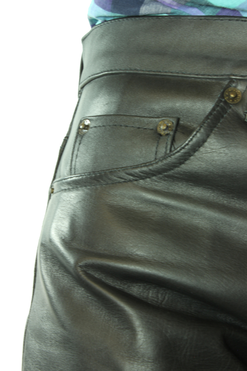 MEN/'S REAL COWHIDE LEATHER 501 LEVI/'S STYLE PANT THIGH FIT JEANS TROUSERS