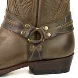 Mayura Boots 07 Brown/ Motor Biker Western Women Men Pointed Boots Braid Fixed Spur Waxed Leather_9