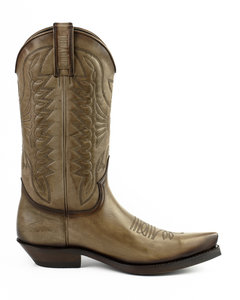 Mayura Boots 1920 Taupe/ Pointed Cowboy Western Line Dance Ladies Men Boots Slanted Heel Genuine Leather