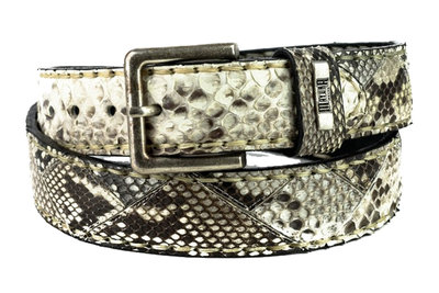 Mayura Belt 1020 White Natural Python 4cm Wide Removable Buckle