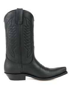 Mayura Boots 20 Black/ Unisex Cowboy Western Boots Pointed Toe Slanted Heel Ornamental Stitching Instep Waxed Leather