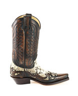 Mayura-Boots-1935P-Broen--Natural-Phyton-Pointed-Cowboy-Western-Boots-Slanted-Heel-Straight-Shaft-Pull-Loops-Goodyear-Welted