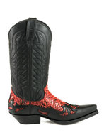 Mayura-Boots-1935-Black--Red-Python-Pointed-Cowboy-Western-Boots-Slanted-Heel-Straight-Shaft-Pull-Loops-Goodyear-Welted