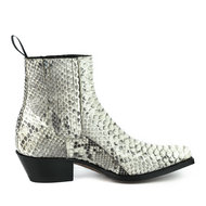 Mayura-Boots-2496P-White--Python-Women-Western-Ankle-Boots-Pointed-Toe-Cowboy-Heel-Elastic-Closure-Genuine-Leather
