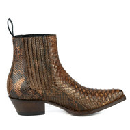 Mayura-Boots-2496P-Cognac--Python-Women-Western-Ankle-Boots-Pointed-Toe-Cowboy-Heel-Elastic-Closure-Genuine-Leather