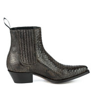 Mayura-Boots-2496P-Brown--Python-Women-Western-Ankle-Boots-Pointed-Toe-Cowboy-Heel-Elastic-Closure-Genuine-Leather
