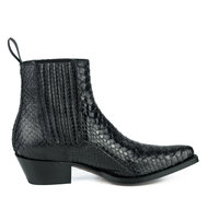 Mayura-Boots-2496P-Black--Python-Women-Western-Ankle-Boots-Pointed-Toe-Cowboy-Heel-Elastic-Closure-Genuine-Leather