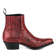 Mayura-Boots-2496P-Red--Python-Women-Western-Ankle-Boots-Pointed-Toe-Cowboy-Heel-Elastic-Closure-Genuine-Leather