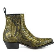 Mayura-Boots-2496P-Kahki--Python-Women-Western-Ankle-Boots-Pointed-Toe-Cowboy-Heel-Elastic-Closure-Genuine-Leather