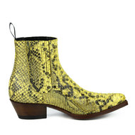 Mayura-Boots-2496P-Yellow--Python-Women-Western-Ankle-Boots-Pointed-Toe-Cowboy-Heel-Elastic-Closure-Genuine-Leather