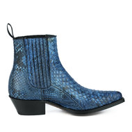 Mayura-Boots-2496P-Blue--Python-Women-Western-Ankle-Boots-Pointed-Toe-Cowboy-Heel-Elastic-Closure-Genuine-Leather
