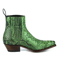Mayura-Boots-2496P-Green--Python-Women-Western-Ankle-Boots-Pointed-Toe-Cowboy-Heel-Elastic-Closure-Genuine-Leather