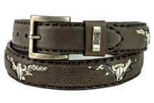 Mayura-Belt-1322-Brown-Skull-Conchos-Natural-Python-4cm-Wide-Changeable-Buckle