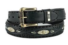 Mayura-Belt-338-Black-Cowboy-Western-Concho-Braid-4cm-Wide-Removable-Buckle