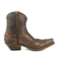 Mayura-Boots-12Brown--Chesnut-Python-Cowboy-Western-Men-Ankle-Boot-Pointed-Toe-Slanted-Heel-Zipper-Waxed-Leather