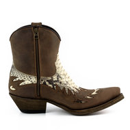 Mayura-Boots-12-Brown--Natural-Python-Cowboy-Western-Men-Ankle-Boot-Pointed-Toe-Slanted-Heel-Zipper-Waxed-Leather