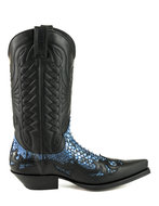 Mayura-Boots-1935P-Black--Blue-Python-Pointed-Cowboy-Western-Boots-Slanted-Heel-Straight-Shaft-Pull-Loops-Goodyear-Welted