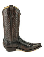 Mayura-Boots-1935P-Brown--Black-Phyton--Pointed-Cowboy-Western-Boots-Slanted-Heel-Straight-Shaft-Pull-Loops-Goodyear-Welted