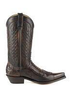 Mayura-Boots-1935P-Brown--Rust-Brown-Phyton-Pointed-Cowboy-Western-Boots-Slanted-Heel-Straight-Shaft-Pull-Loops-Goodyear-Welted