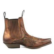 Mayura-Boots-Rock-2500-Cognac--Pointed-Western-Men-Ankle-Boot-Python-Slanted-Heel-Elastic-Closure-Vintage-Look
