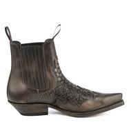 Mayura-Boots-Rock-2500-Brown--Pointed-Western-Men-Ankle-Boot-Python-Slanted-Heel-Elastic-Closure-Vintage-Look