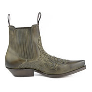 Mayura-Boots-Rock-2500-Taupe--Pointed-Western-Men-Ankle-Boot-Python-Slanted-Heel-Elastic-Closure-Vintage-Look