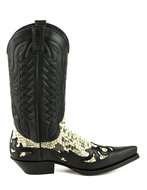 Mayura-Boots-1935P-Black--Natural-Python-Pointed-Cowboy-Western-Boots-Slanted-Heel-Straight-Shaft-Pull-Loops-Goodyear-Welted