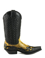 Mayura-Boots-1935-Black--Camel-Python-Pointed-Cowboy-Western-Boots-Slanted-Heel-Straight-Shaft-Pull-Loops-Goodyear-Welted