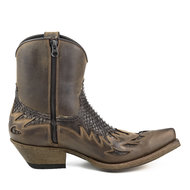 Mayura-Boots-12-Brown--Brown-Python-Cowboy-Western-Men-Ankle-Boot-Pointed-Toe-Slanted-Heel-Zipper-Waxed-Leather