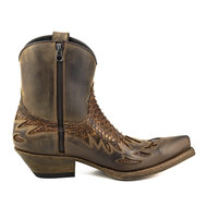 Mayura-Boots-12-Brown--Rust-Brown-Python--Cowboy-Western-Men-Ankle-Boot-Pointed-Toe-Slanted-Heel-Zipper-Waxed-Leather